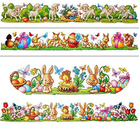 1 Bogen Fensterbilder Borduren Quot Osterhase Ostereier Quot Incl Name Statisch Haftend Selbstklebend Wiederverwendbar Ostern Fruhling
