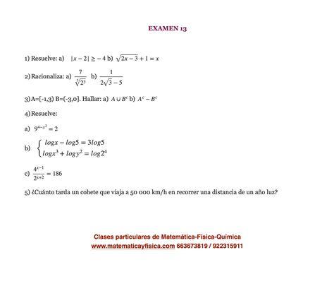 Examen 13 Matematica Bachillerato Examen De Matematicas