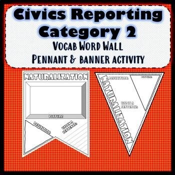 Civics Reporting Category 2 Pennant Banner Vocab Activity Set Of 48 Word Wall Vocab Activities Vocab Word Wall