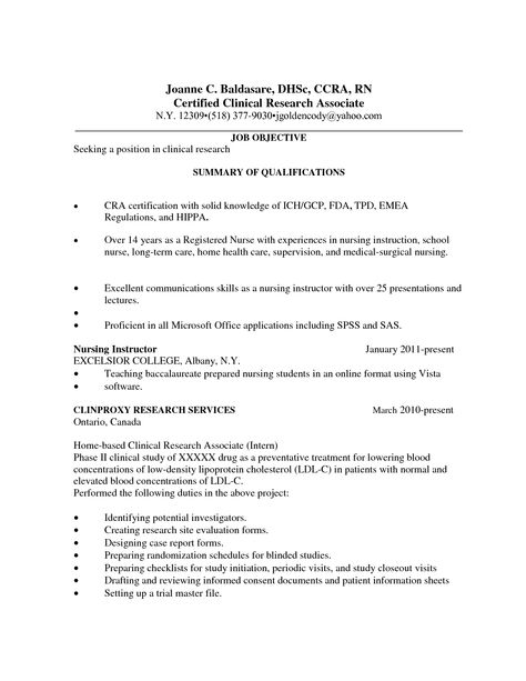 Health Care Resume Templates Research Coordinator Associate - master plumber resume