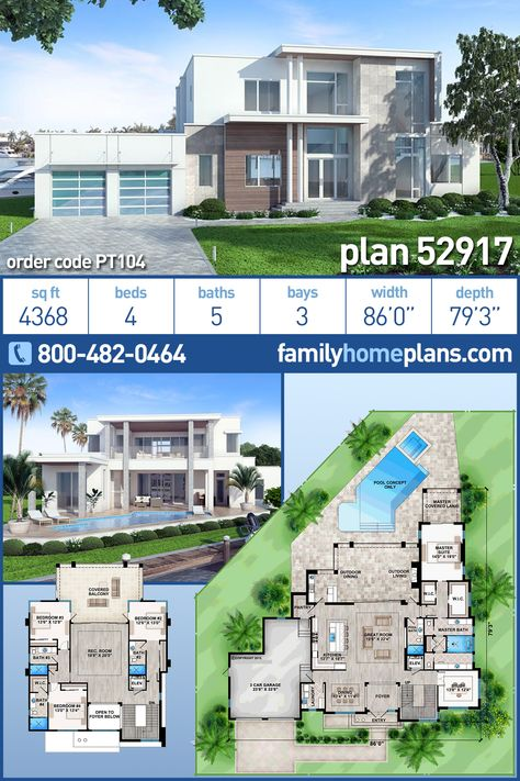Modern Style House Plan 52917 With 4 Bed 5 Bath 3 Car Garage Modern Style House Plans Modern House Floor Plans Luxury Modern Homes