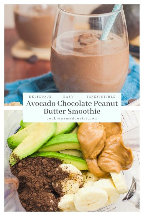 Avocado Chocolate Peanut Butter Smoothie - This thick, creamy acovado chocolate peanut butter smoothie is the perfect balance of chocolate and peanut butter. It tastes just like a milkshake but it is healthy for you and will keep you fueled for hours! Smoothie Prep, Banana Smoothie Bowl, Chocolate Peanut Butter Smoothie, Healthy Peanut Butter, Easy Smoothies, Healthy Chocolate Smoothie, Breakfast Smoothies, Healthy Dessert Smoothies, Strawberry Avocado Smoothie