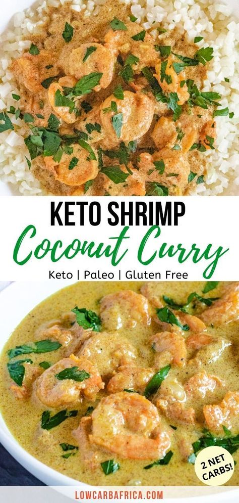 Keto Shrimp Coconut Curry This low carb keto shrimp coconut curry is made with a delightful ethnic blend of spices, and contains only 2 net carbs per serving! It makes an excellent keto lunch or dinner served over cauliflower rice. Keto Shrimp Recipes, Healthy Dinner Recipes, Diet Recipes, Cooking Recipes, Paleo Recipes Low Carb, Supper Recipes, Paleo Food, Keto Foods, Keto Meal