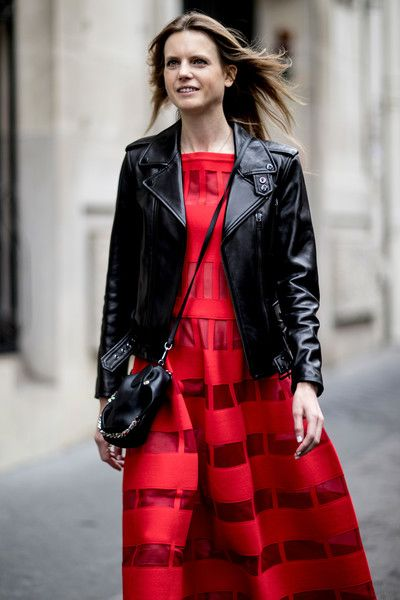 Leather and Red - The Best Outfits Worn to Paris Fashion Week - Photos