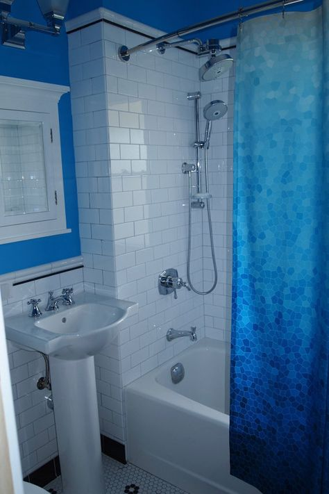 Blue Teal Gradient Shower Curtain Sea Glass Mosaic Ombre Aqua