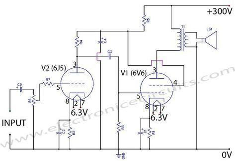 6v6 6j5 Class A Valve Vacuum Tube Amplifier Circuit Wiring Diagram Valve Amplifier Vacuum Tube Amplifier