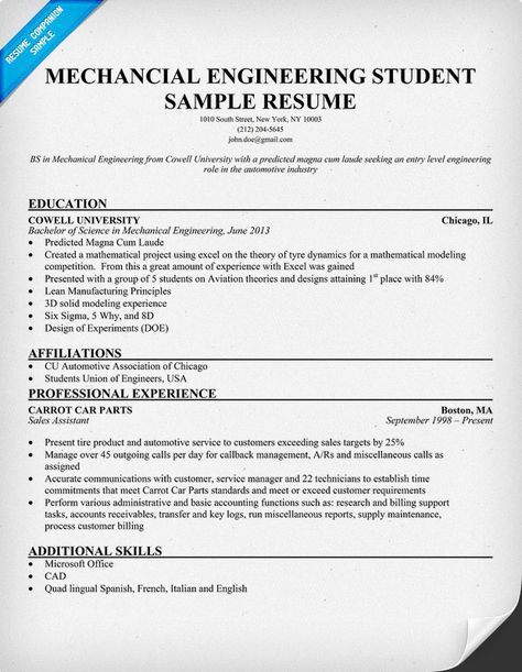 Mechanical Engineering Student Resume For Him Pinterest - automotive mechanical engineer sample resume