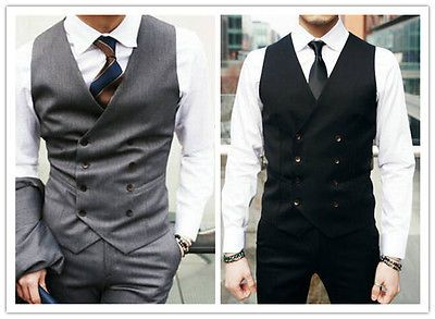36425c60d14 Details about Men Fitted Vest Male Waistcoat Double Breasted Vest ...