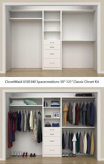 Closetmaid 6105440 Spacecreations 50 121 Classic Closet Kit Closetmaid Spacecreations Closet Organizers Get Decl Closet Kits Closet Layout Closet Designs