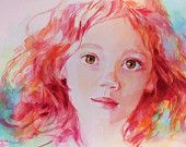 Unique Custom Portrait Based on Your Photo in Bright, Colorful Watercolor. $500.00, via Etsy.