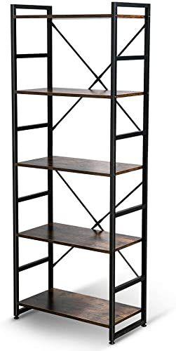 Buy Haton Bookshelf 5 Tier Wood Bookcase Metal Frames 5 Shelf Industrial Storage Shelf Organizer Modern Tall Display Shelf Racks Open Wide Standing Shelving In 2020 Shelves Wood Bookcase Shelving Unit