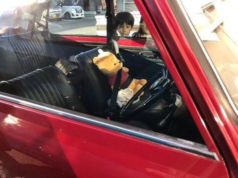 助手席はプーさんだから僕達は後ろね プーさんめっちゃ大事にされてる シートベルトもしてます Mini Classicmini Minicooper