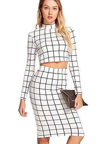 Romwe Women S Grid Crop Top Pencil Skirt 2 Piece Set Bodycon Mini