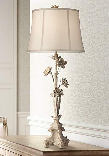 Bella Country Cottage Console Table Lamp Distressed Antique White Floral Vine Candlestick Beige Bell Sh Console Table Lamp Table Lamp Tiffany Style Table Lamps