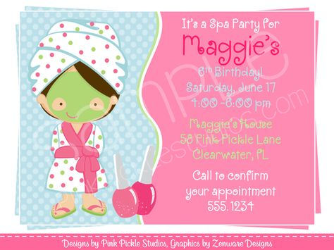 invitation for spa party