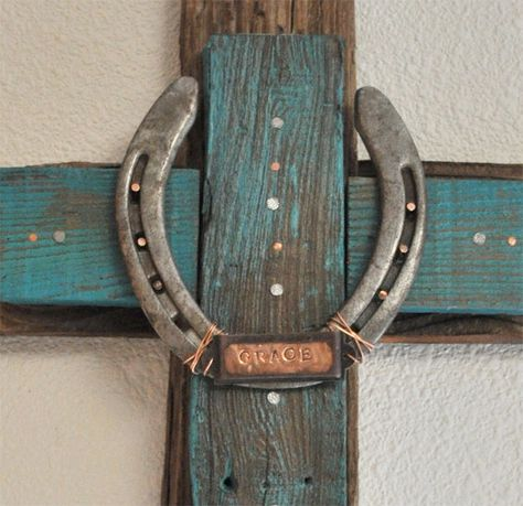 No western home is complete withouth a cowboy cross enhanced with a horseshoe embossed with the word GRACE in copper. - Great piece!