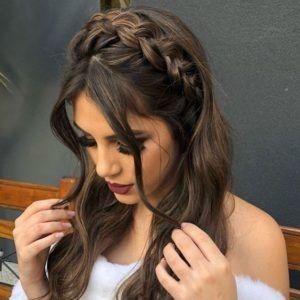 Prom Hairstyles Half Up Half Down Braids For Long Hair Hair Styles Dark Brown Long Hair