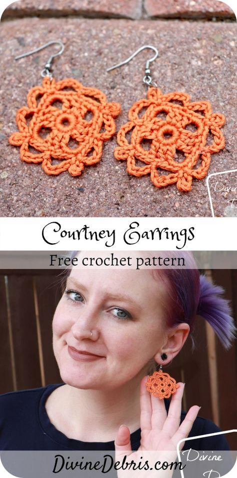 Courtney Earrings - free crochet pattern by Divine Debris. Crochet Hook Sizes, Thread Crochet, Crochet Crafts, Crochet Projects, Crochet Earrings Pattern, Crochet Jewelry Patterns, Crochet Necklace, Diy Crochet Jewelry, Crochet Accessories Free Pattern