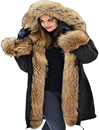Aofur Womens Hooded Faux Fur Lined Warm Coats Parkas Anroaks Outwear Winter Long Jackets (XXX-Large, Black) Mujer