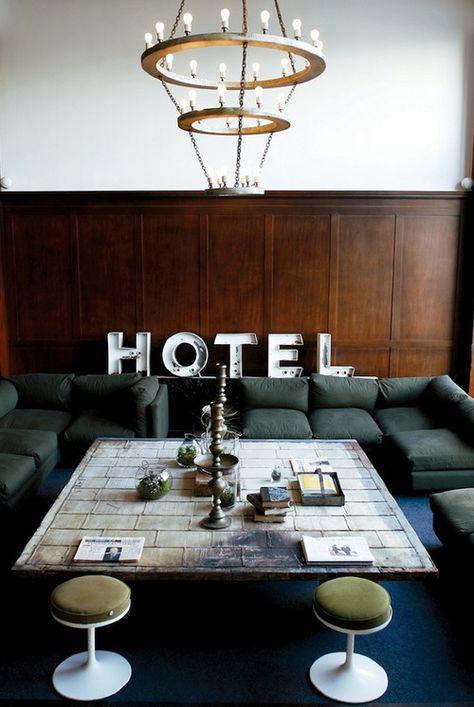 Source: Ace Hotel Can this please be mine? The communal seating lounge as part of the Ace Hotel in Portland Oregon (I always think I would l...