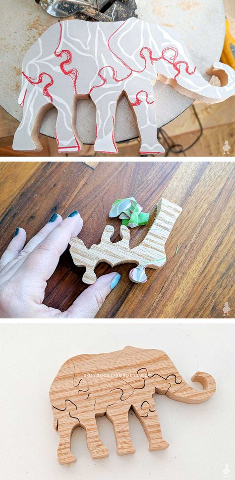 Elephant template for a scroll saw puzzle! Each piece interlocks with the other so that it can be laid flat or stand on a table. Makes a great gift and is a good introductory project for kids who are interested in woodworking #kids #diy #diygifts #giftideas #giftsforkids #childrenstoys #scrollsaw #elephant #doityourself #scrapwood #diygames