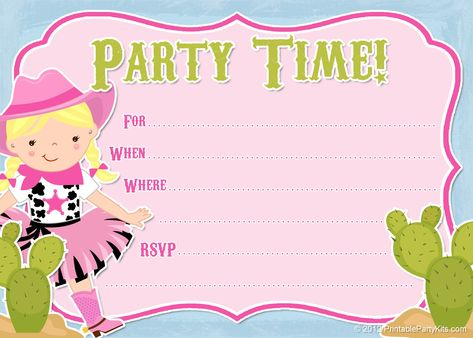 Free printable cowgirl #party invitation from PrintablePartyInvitations.Blogspot.com