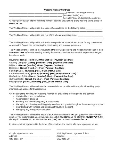 Wedding Planner Contract Wedding Planner Contract Template - wedding coordinator resume