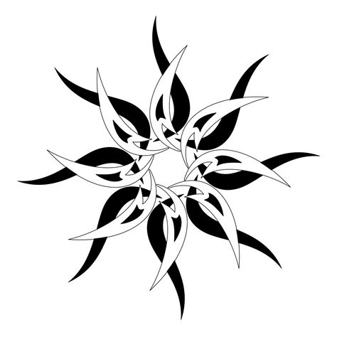 Black & white tribal sun tattoo design