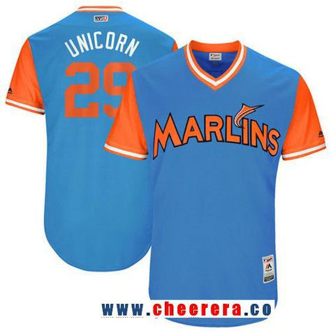 6c749f4dc6c Men s Miami Marlins Brad Ziegler -Unicorn- Majestic Blue 2017 Little League  World Series Players Weekend Stitched Nickname Jersey