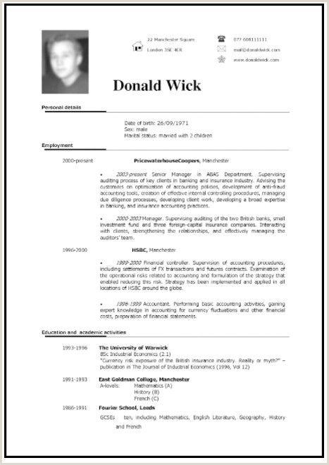 Curriculum Vitae Formato Word Para Rellenar Gratis En Ingles With