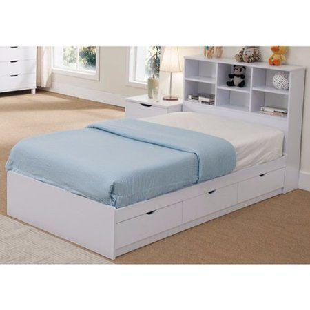 Latitude Run Divito Sophisticated Snow Twin Storage Platform Bed