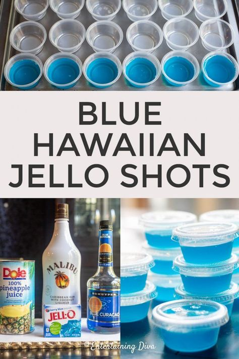 How to Make Blue Hawaiian Jello Shots - Entertaining Diva Recipes @ From House To Home GREAT recipe for Blue Hawaiian jello shots with coconut rum! The pineapple juice, Malibu rum and blue curacao tastes great with the berry blue jello. Limoncello Cocktails, Fruity Cocktails, Cocktail Drinks, Cocktail Parties, Fruity Shots, Malibu Cocktails, Blue Hawaiian Jello Shots, Blue Jello, Hawaiian Drinks