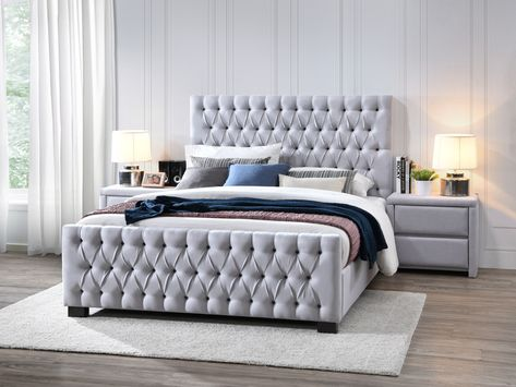 The Bella Fully Upholstered Fabric Queen Bedroom Suite Boasts