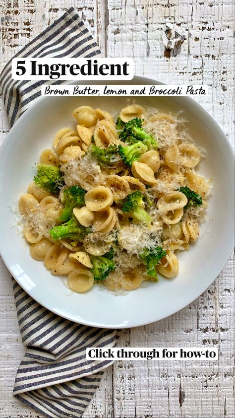5 Ingredient Brown Butter, Lemon and Broccoli Pasta