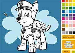 Juegos Gratis - Juego: Colorear Chase - Jugar Juegos de Pintar Patrulla Canina Cachorros Paw Patrol Online