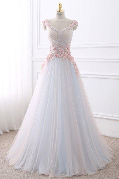 737804ea1e7 White tulle V neck long flower sweet 16 prom dress  promdress ...