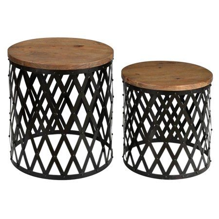 Home Wood Nesting Tables Nesting Tables Metal Accent Table