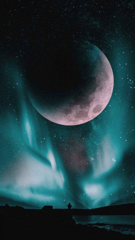 Big Moon Sky Aurora Iphone Wallpaper Wallpaper App Android Wallpaper Scenery Aurora android wallpaper hd