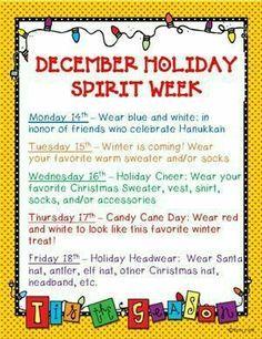 Christmas Spirit Week Ideas For Work.Image Result For Holiday Spirit Week Ideas School School