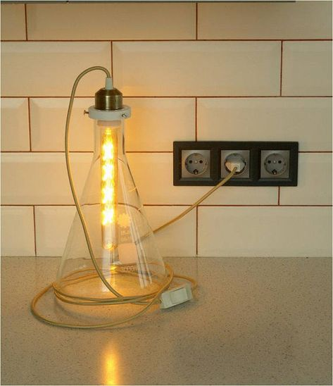Table Lamp Steampunk Lighting Glass Chemical Flask Lamp Steampunk Table Lamp Table Lamp