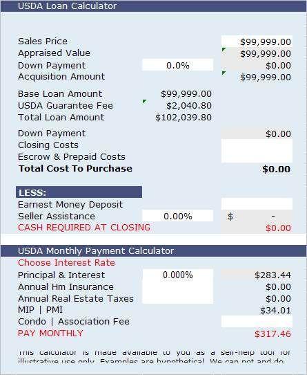 Mortgage Calculator Usda Home Loan Calculator Easily Estimate