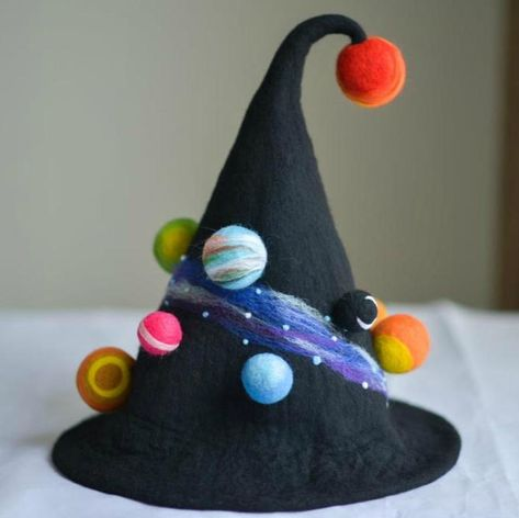 Crazy Hat Day, Crazy Hats, Felt Witch Hat, Felt Hat, Wool Felt, Witch Hats, Felted Wool, Felted Scarf, Diy Hat