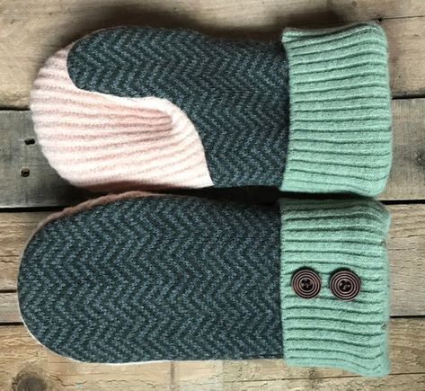 3c87e9d088 Wool Felted Sweater Mittens/ Gray and Green Chevron, Light Green and Pink  Color Mittens/Fleece Lined