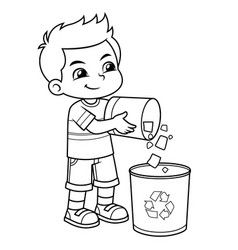 Boy Throwing Garbage In The Trash Can Bw Vector Image On Art