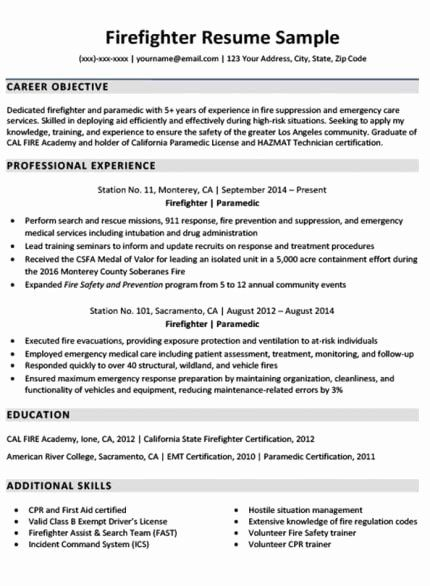 Emt Job Description Resume Elegant Downloadable Firefighter Resume Sample In 2020 Firefighter Resume Cover Letter For Resume Resume