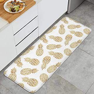 Gold Pineapple Clipart White Background Anti Fatigue Kitchen Floor Mat Dry Fast Rug Doormats Ou Pineapple Kitchen Decor Gold Pineapple Decor Kitchen Mats Floor