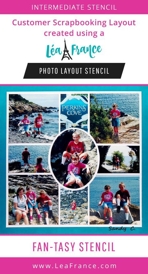 Easily scrapbook multiple pictures together to tell a story using a reusable stencil like this Fantasy template