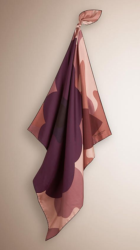 Mauve pink Camouflage and Floral Print Silk Square – Medium - Image 1