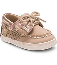 Bluefish Jr. Crib Boat Shoe, Silver Cloud / Rose Gold