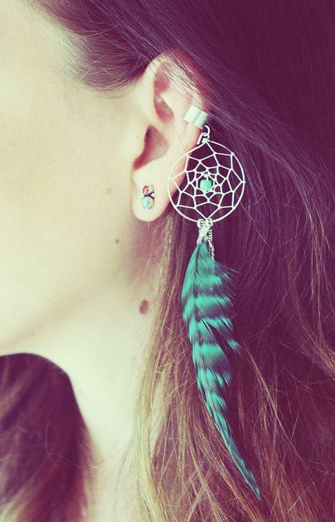 Manchette d'oreille argent faits à la main, Teal Dream Catcher Ear Cuff, manchette d'oreille plume, fausse boucle d'oreille, boucle d'oreille Turquoise, Festival, Hippie, boucle d'oreille Tragus